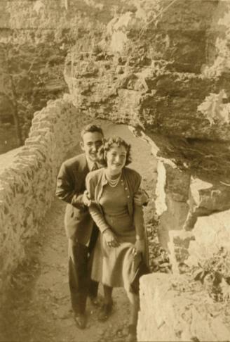 "Grandpa ""Louie"" and our Grandma Doris Honeymooning at Clifty Falls"
