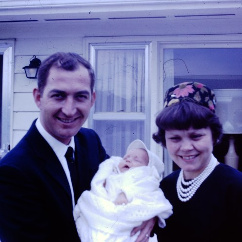 """Poppy"" and Grandma Jane with our Uncle Tony at his Baptism"